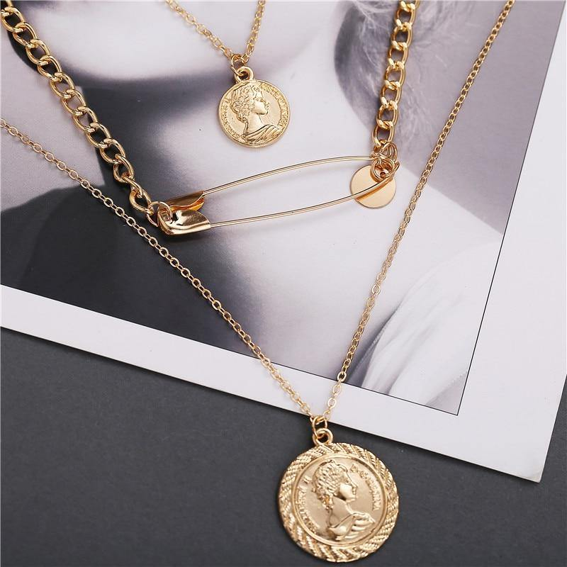 17KM Fashion Gold Coin Pendants Necklaces For Women Flower Choker Necklace 2019 Ethnic Multilayer Female Bohemian  Jewelry