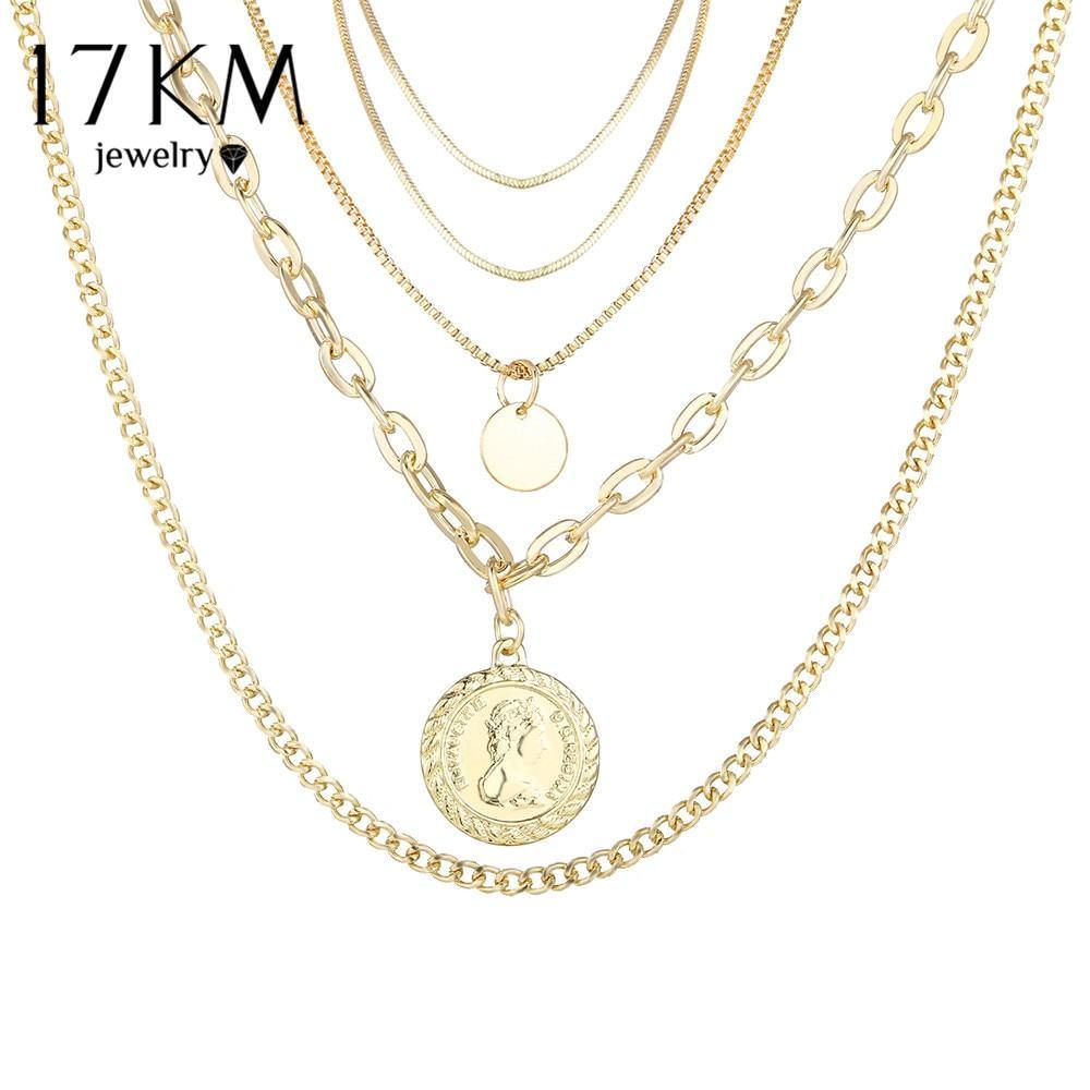 17KM 2PCS/Set Gold Multilayer Portrait Chain Necklace For Women Bohemian Choker Pendant Necklaces 2020 Fashion Jewelry