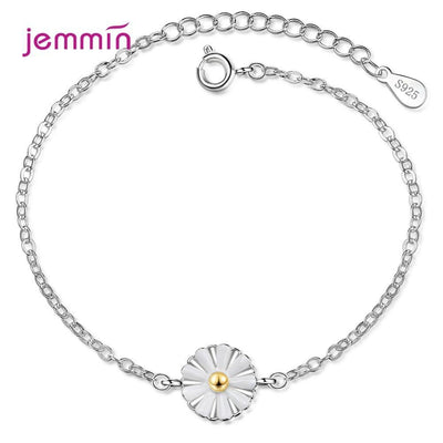 Women Sweet Daisy 925 Sterling Silver Bracelets Trendy Small Flower Daisy Braided Bracelet Bangle Bohemian Handmade Jewelry