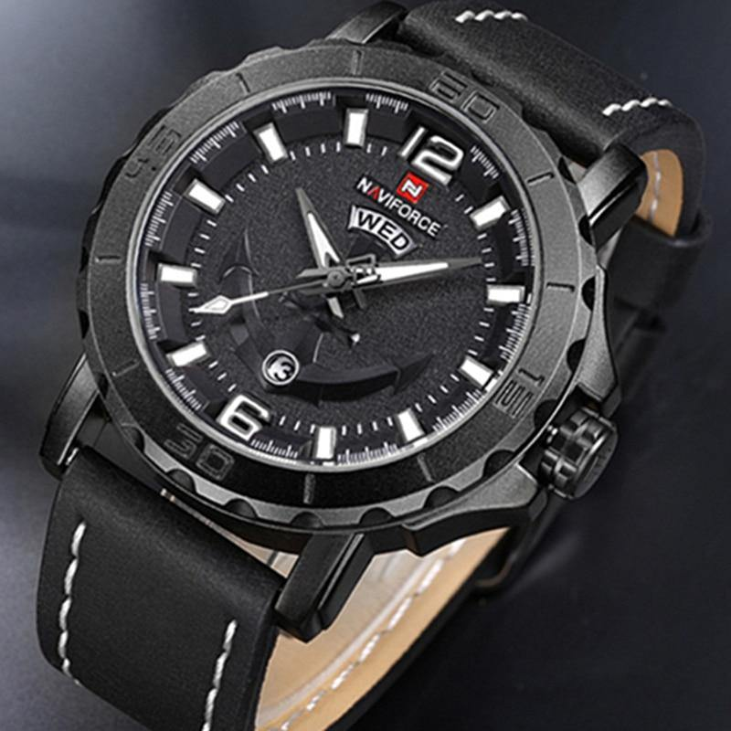 NAVIFORCE Brand Top Luxury Men's Watches Sports Men's Leather Army Military Waterproof Man Watch Quartz Clock Relogio Masculino