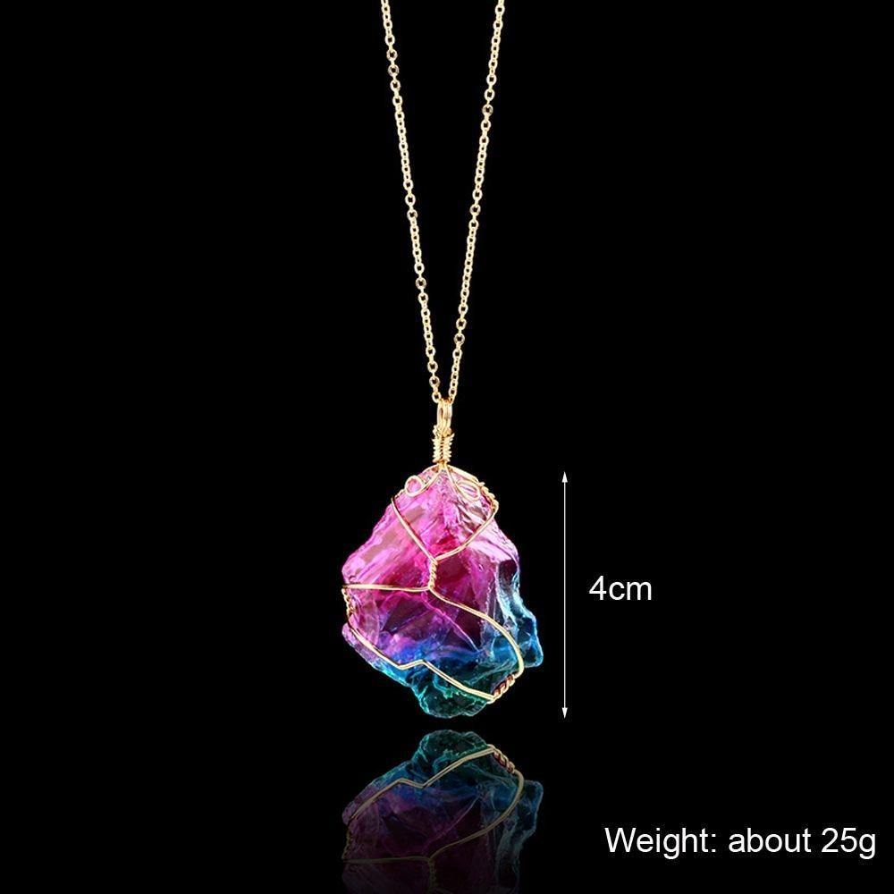 1Pcs Handmade 7 Chakra Natural Rainbow Stone Tree Of Life Pendant Necklace For Women Men Long Chain Statement Jewelry Gift