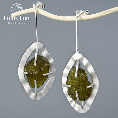 Lotus Fun Natural Raw Stone Tourmaline Drop Earrings Real 925 Sterling Silver 18K Gold Earrings for Women Handmade Fine Jewelry