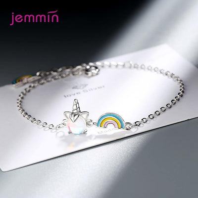 Exquisite Colorful 925 Sterling Silver Unicorn Rainbow Bracelets For Women New Design Stone Bracelet Chain Jewelry Girl Gifts