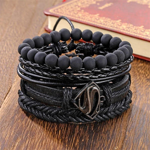 IFMIA Vintage Black Bead Bracelets For Men Fashion Hollow Triangle Leather Bracelet & Bangles Multilayer Wide Wrap Jewelry 2020