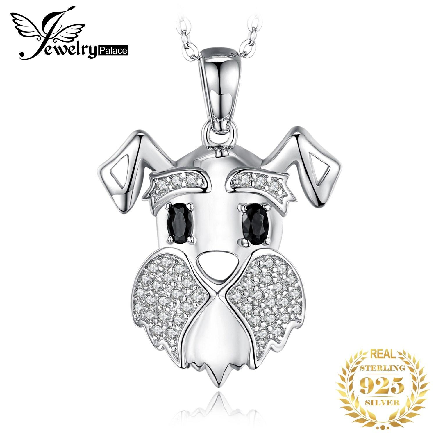 Schnauzer Dog Natural Black Spinel Pendant Necklace 925 Sterling Silver Gemstones Choker Statement Necklace Women No Chain