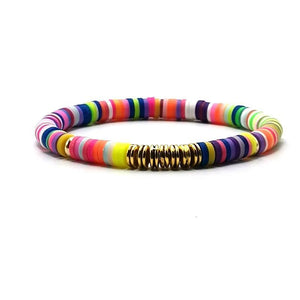 6mm Handmade Ethnic Polymer Clay Bracelet For Women Men Adjustable Bohemian Beads Charm Bracelet Couple Beach Accessory