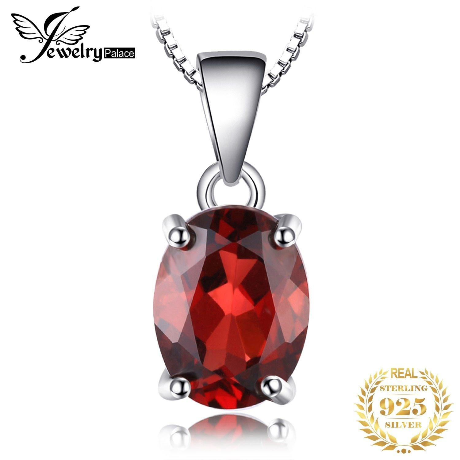 Natural Garnet Pendant Necklace 925 Sterling Silver Gemstones Choker Statement Necklace Women silver 925 Jewelry No Chain