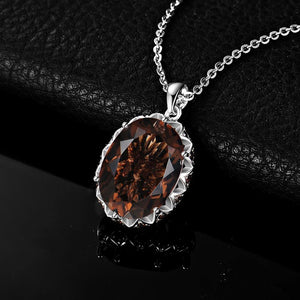 JPalace 8ct Natural Smoky Quartz Pendant Necklace 925 Sterling Silver Gemstones Choker Statement Necklace Women No Chain