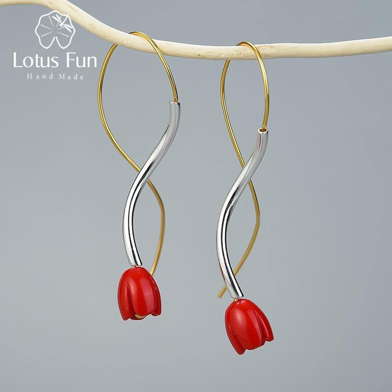 Lotus Fun Real 925 Sterling Silver Handmade Designer Fine Jewelry Ethnic Style Red Rose Flower Dangle Earrings for Women Gift