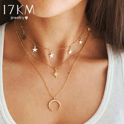 17KM Vintage Multilayer Pendant Necklace For Women Bohemian 2019 New Gold Round Heart Moon Star Choker Necklace Trendy Jewelry
