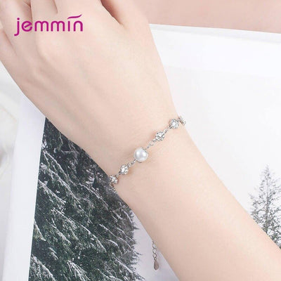 Elegant 925 Sterling Silver Pearl Charm Link Bracelets For Women Plum Flower Cubic Zirconia Chain Bangle Jewelry