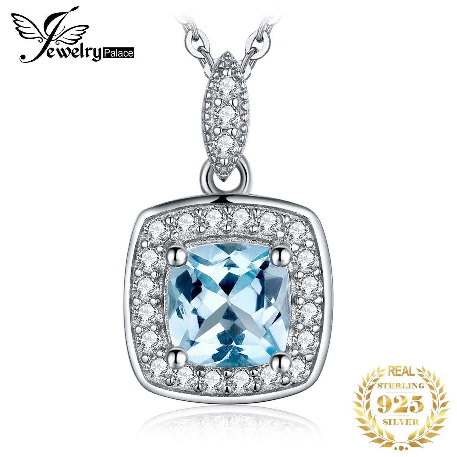 JewelryPalace Natural Blue Topaz Pendant Necklace 925 Sterling Silver Gemstones Choker Statement Necklace Women No Chain