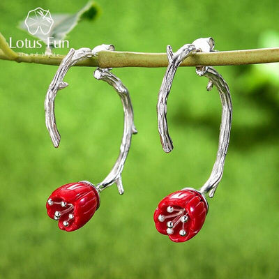 Lotus Fun Real 925 Sterling Silver Red Coral Handmade Designer Fine Jewelry Lily of the Valley Flower Drop Earrings for Women