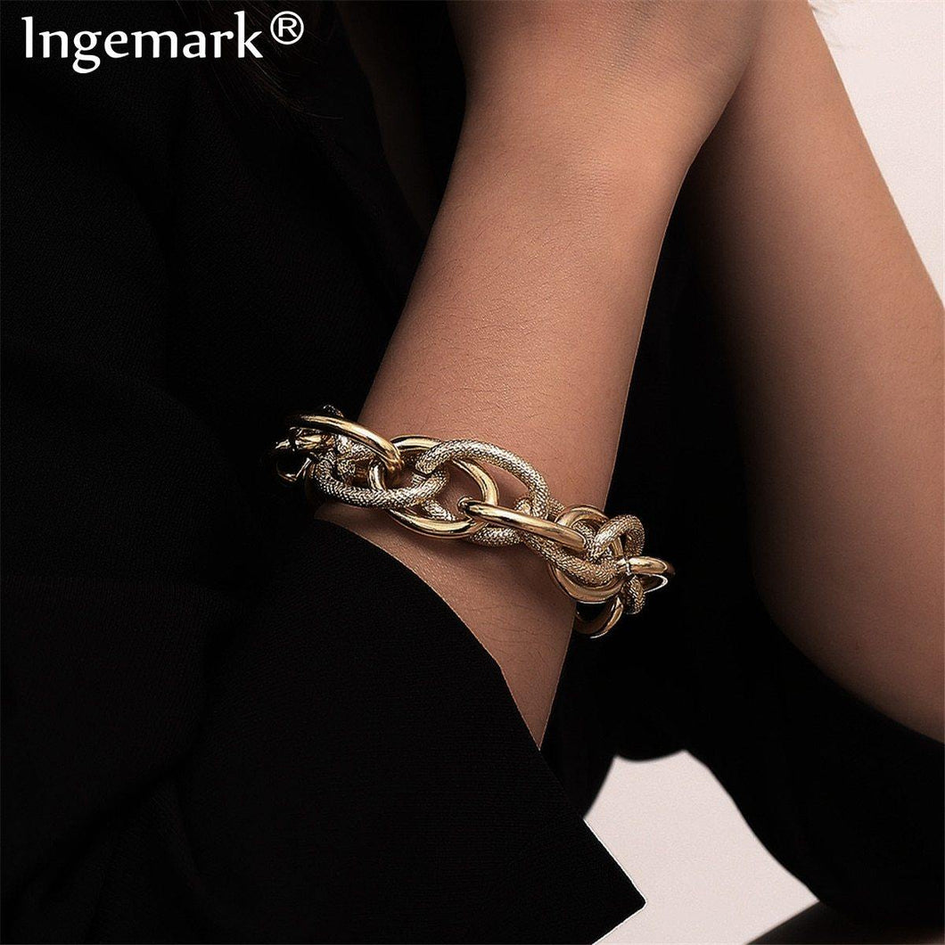 Boho Punk Heavy Metal Chunky Chain Bracelet Bangle Women Men Armband Steampunk Indian Brand Lock Bracelets Friend Couple Jewelry