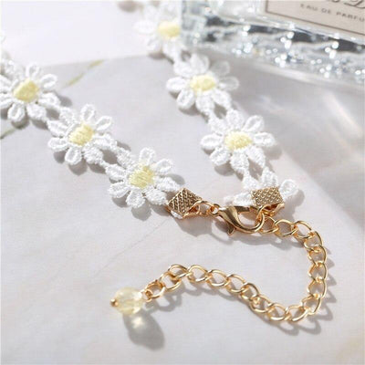 17KM Bohemian Adjustable Daisy Lace Choker Necklace For Women Fashion Purple Butterfly Choker Necklaces Korean Jewelry Party