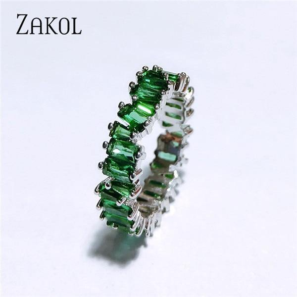 ZAKOL Fashion Luxury Multicolor Charm AAA Baguette Cubic Zirconia Wedding Rings for Women T Shape Stone Party Jewelry FSRP252