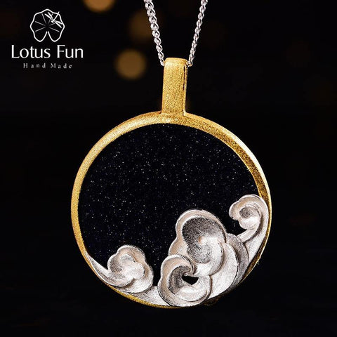 Lotus Fun Natural Gemstone Starry and Waves Pendant without Necklace Real 925 Sterling Silver Handmade Fine Jewelry for Women (Gold Sand Stone)