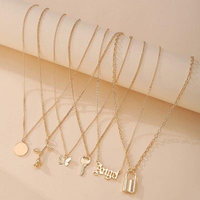 17KM 6Pcs/set Rose Lock Snake Pendant Necklace for Women Gifts Fashion Crystal Butterfly Heart Angel Necklaces Letter Jewelry