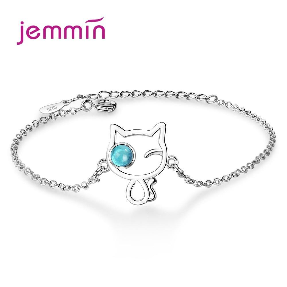 Lovely Blue Clear CZ Crystal Cat Hollow 925 Sterling Silver Bracelets For Women Concise Friendship Bracelet Femme Gift Jewelry