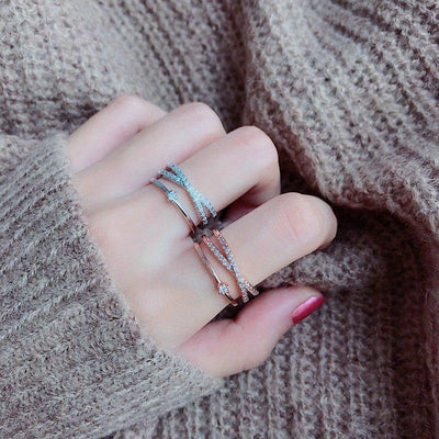 MENGJIQIAO New Fashion Design Zircon Multilayer Twist Rings For Women Adjustable Mid Finger Knuckle Rings Students Jewelry