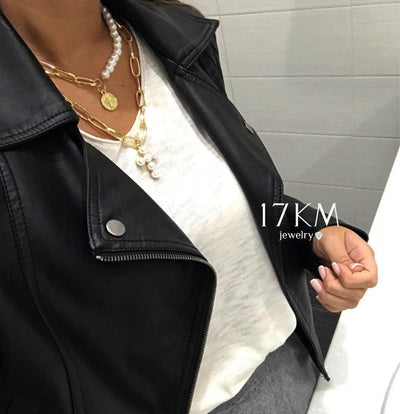 17KM Vintage Cross Pearl Choker Necklace For Woman Collar 2020 Double layer Bead Coin Gold Necklace for Couple Fashion  Jewelry