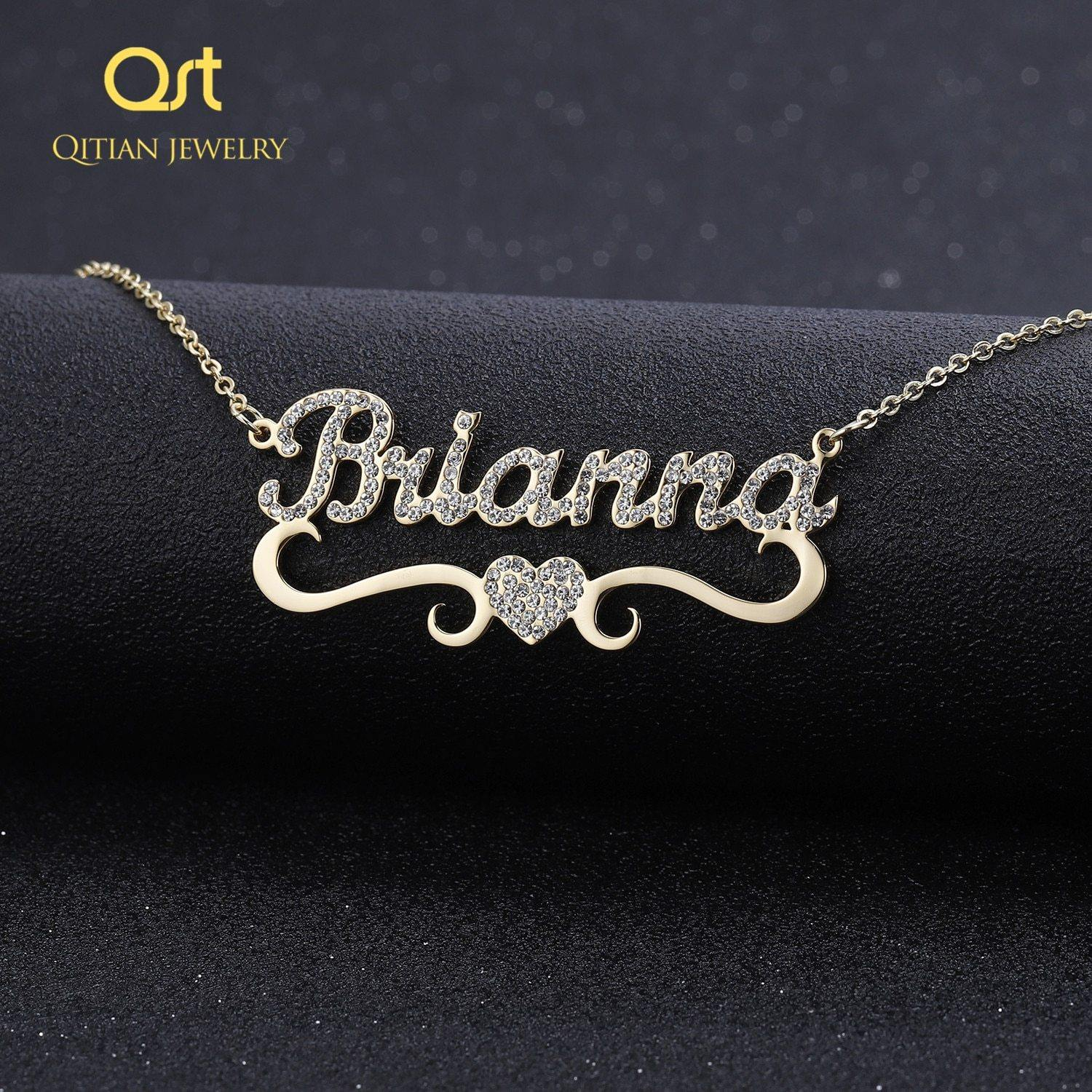 Heart With Personalized Name Necklace & Pendants For Women  bling jewelry iced out Initial Choker Custom bling initial necklace