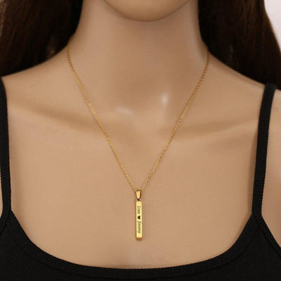 Square Bar Name Letter Custom Necklace Stainless Steel 3 Colors Personalized Date Necklaces for Women Men Jewelry Gift