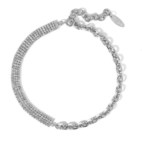17KM Cute Rhinestone Chain Link Choker Necklace For Women Wedding Silver Color Asymmetric Choker Necklaces Party Jewelry (CS52006)