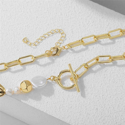 17KM Fashion Irregular Pearl Chain Necklace for Women Gifts Gold Geometric Lock Choker Necklaces Vintage Jewelry