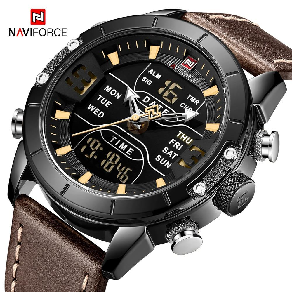 NAVIFORCE Men Watches Top Brand Luxury Wristwatch Man Military Quartz Digital Led Clock Genuine Leather Watch Relogio Masculino