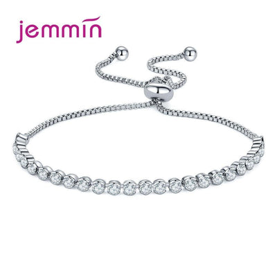 Luxury 925 Sterling Silver Sparkling AAA Cubic Zirconia Bracelets Adjustable Chain Friendship Bracelets For Women Party Jewelry