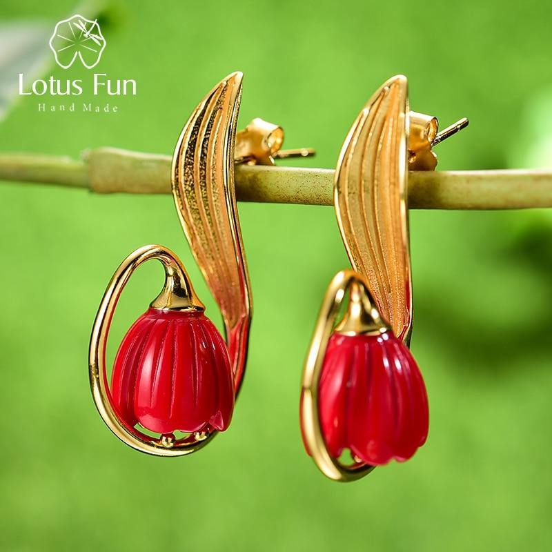 Lotus Fun Real 925 Sterling Silver Handmade Fine Jewelry Red Coral Gold Lily of the Valley Flower Drop Earrings for Women Gift
