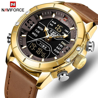 NAVIFORCE Watches Fashion Quartz Men Watch Leather Waterproof Military Mens Watches Analog Digital Male Clock Relogio Masculino