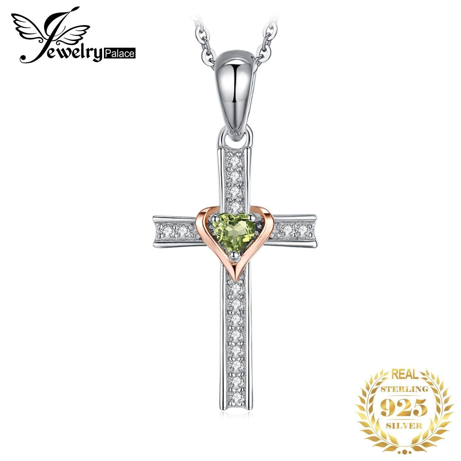 JPalace Cross Lover Natural Peridot Pendant Necklace 925 Sterling Silver Gemstone Choker Statement Necklace Women No Chain
