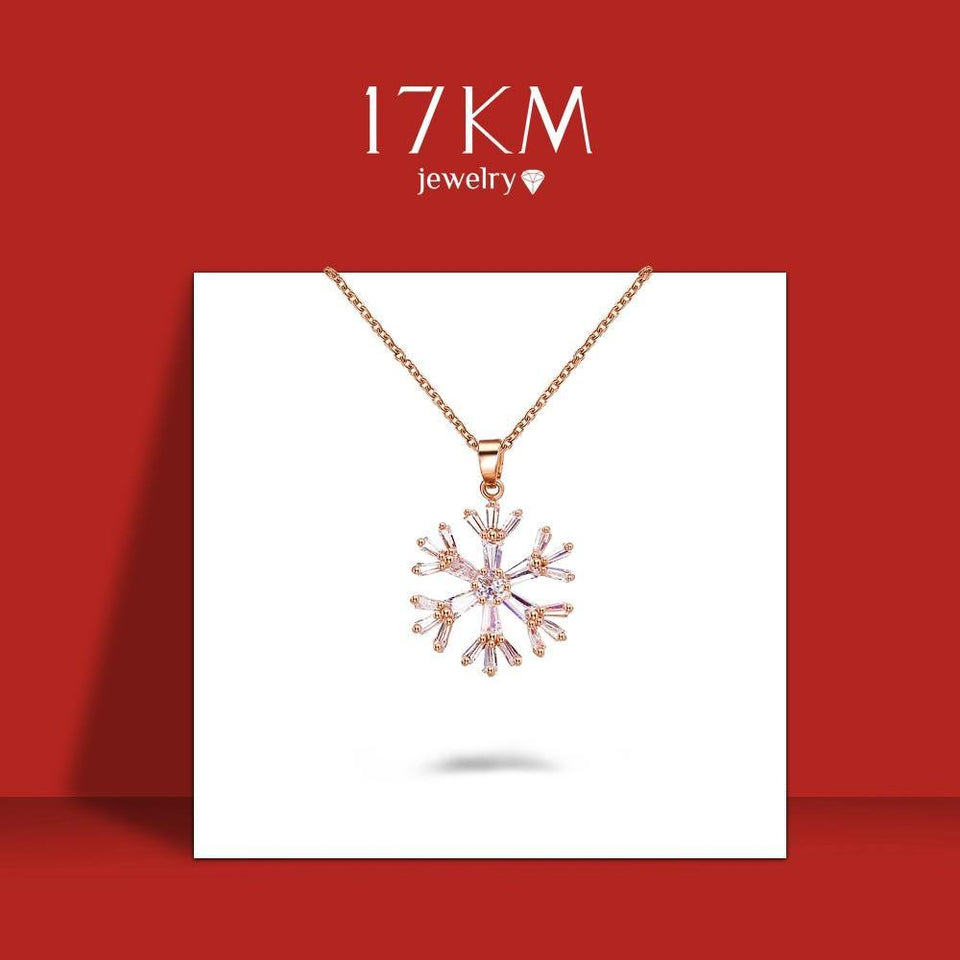 17KM Zircon Snowflake Pendant Necklaces For Women Girls Vintage Bohemian Cross Gold Necklace Choker Fashion Jewelry Gift