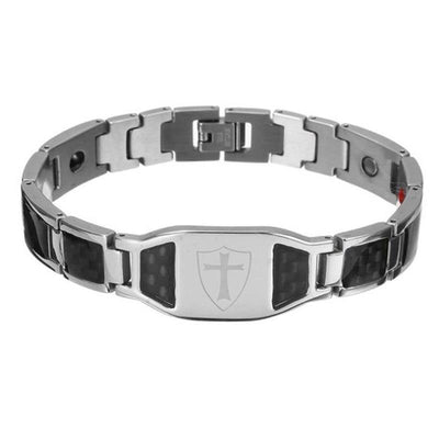 High Quality Stainless Steel Cross Bracelet Bangles Men Black Silver Color Carbon Fiber Health Bracelets For Men Fashion Jewelry