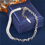 17KM Cute Rhinestone Chain Link Choker Necklace For Women Wedding Silver Color Asymmetric Choker Necklaces Party Jewelry