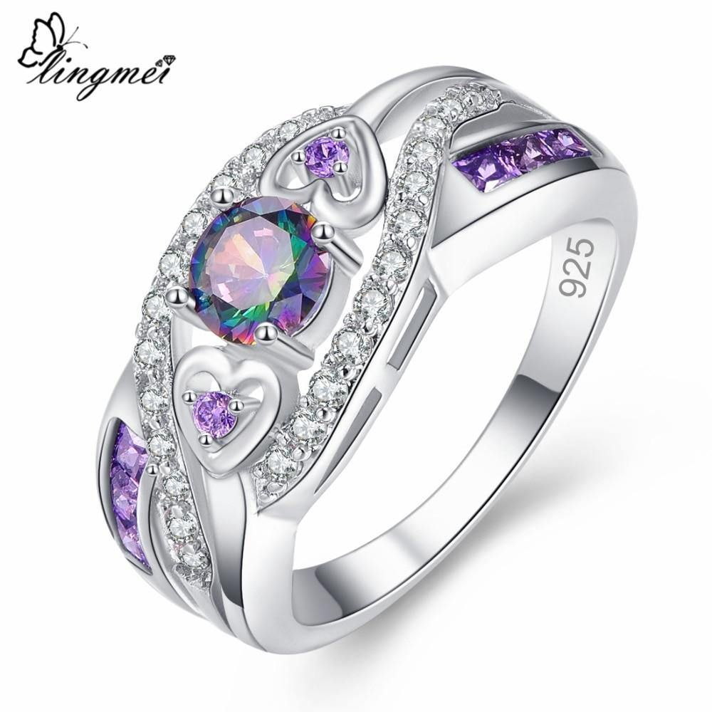 lingmei Dropshipping Fashion Women Wedding Jewelry Oval Heart Design Multi & Purple White CZ Silver Color Ring Size 6 7 8 9