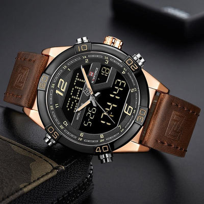 NAVIFORCE Men's Wrist Watch Digital Chronograph Military Men Watch Luxury Leather Casual Quartz Clock Man Men Watch Digital LED