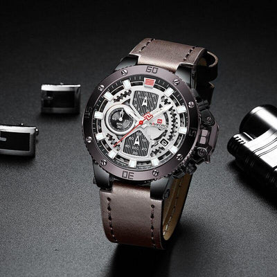 NAVIFORCE Men Watches Top Brand Luxury Military Quartz Watch For Men Chronograph Leather Waterproof Clock Male relogio masculino