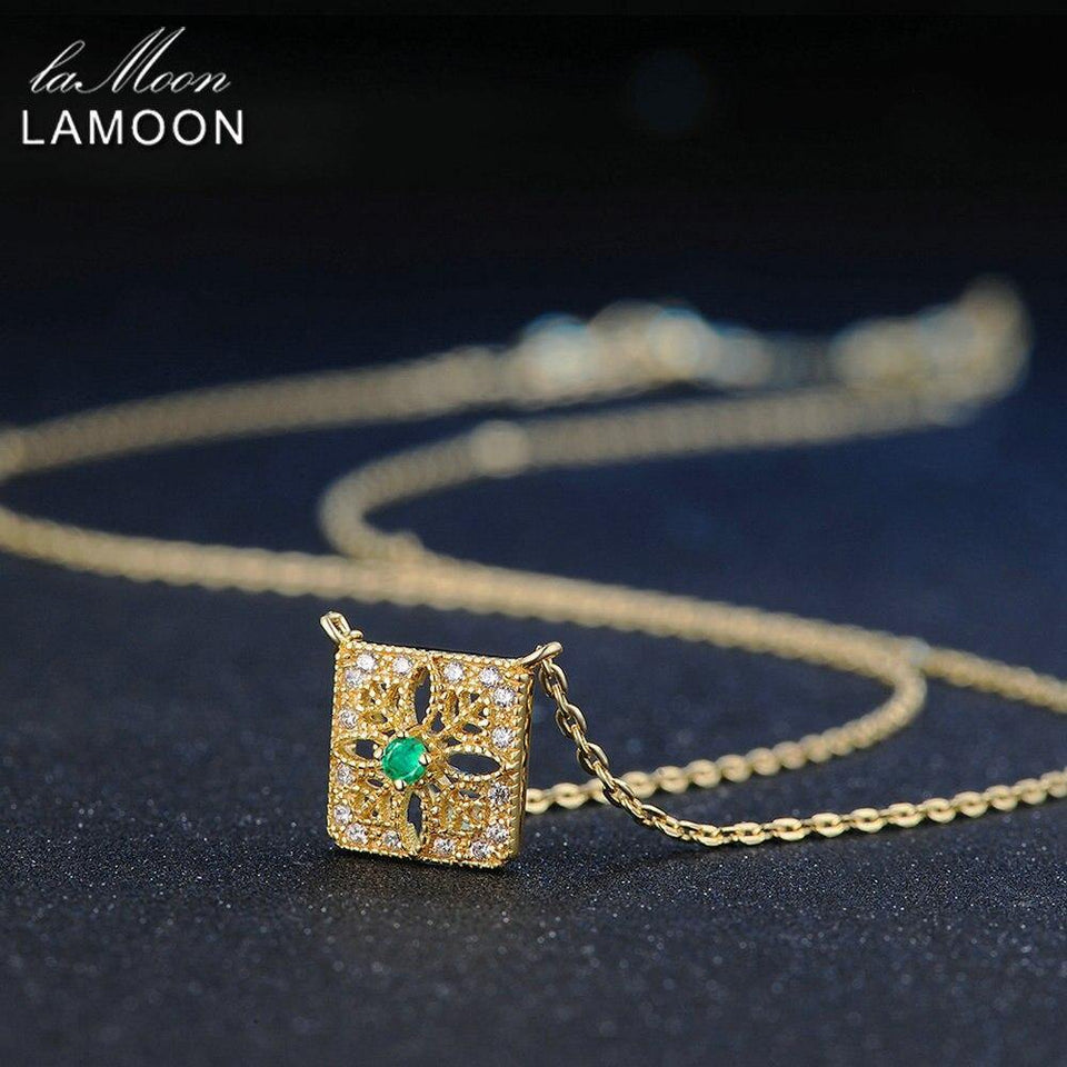 LAMOON Pendant Necklace 0.06ct 100% Natural Square Emerald Gemstone Necklaces For Women S925 Sterling Silver Fine Jewelry NI018