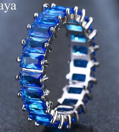EMMAYA Silver Color Unique Design CZ Ring Paved Austrian Zircon Fashion Women Ring Jewelry