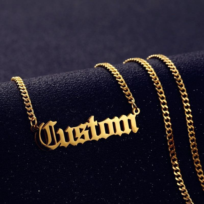 Personalized Custom Name Necklace Pendant Gold Color 3mm Cuban Chain Customized Nameplate Necklaces for Women Men Handmade Gifts