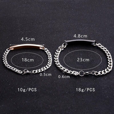 2Pc/Set Queen King Stainless steel Stone Women Man Chain Crystal Couple Bracelet for Men snap jewelry bracelet Pulseira hombres