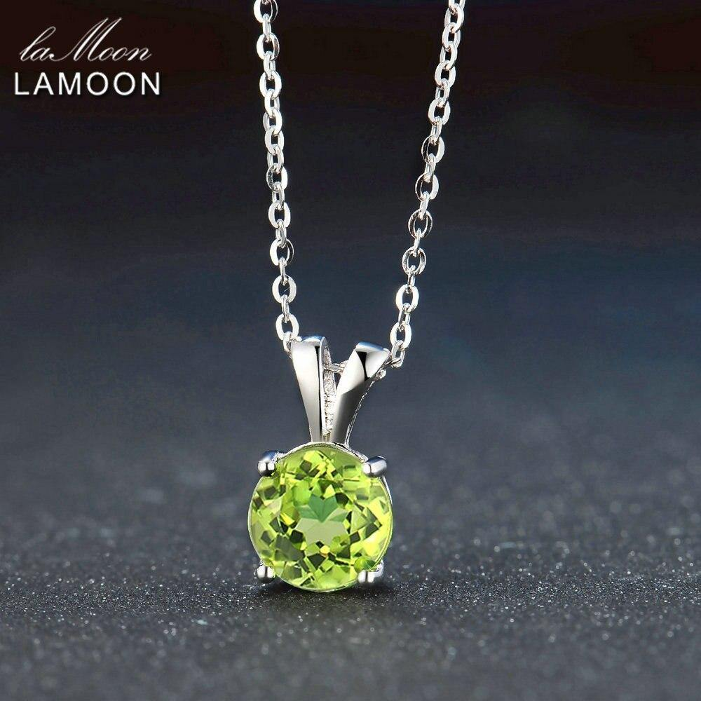 LAMOON Women Jewelry S925 Sterling Silver Chain Pendant Necklace Natural Gemstone Round Green Peridot Classic Necklaces NI057 (Green 45cm)