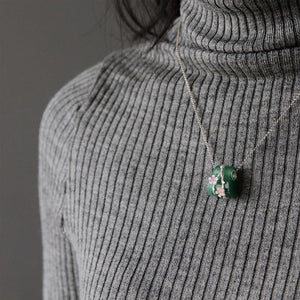 Lotus Fun Real 925 Sterling Silver Natural Aventurine Gemstone Creative Fine Jewelry Vintage Plum Flower Pedant without Necklace