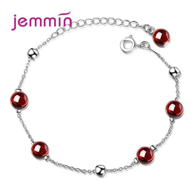 Boutique Lady Red Geometric Natural Crystal Garnet Metal Beads Bracelets For Wedding Party Jewelry Joyas Top Quality