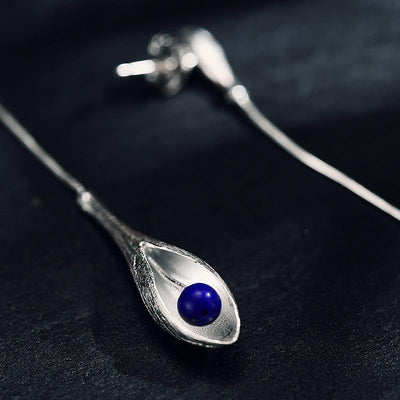 Lotus Fun Real 925 Sterling Silver Natural Lapis Handmade Fine Jewelry Vintage Elegant Long Dangle Earrings for Women Brincos