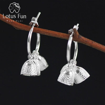 Lotus Fun Real 925 Sterling Silver Natural Creative Handmade Designer Fine Jewelry Ethnic Vintage Fish Bell Female Bijoux