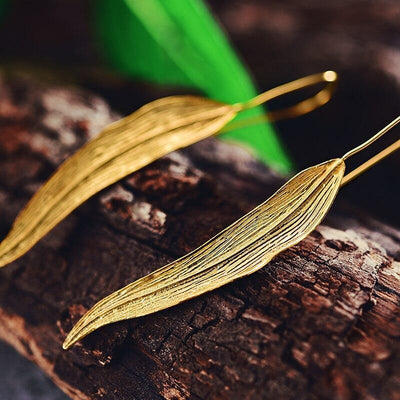 Lotus Fun Real 925 Sterling Silver Earrings Handmade Fine Jewelry Vintage 18K Gold Long Leaves Drop Earrings for Women Brincos